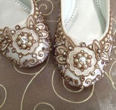 Cherry Blossom Bridal Ballet Flats Wedding Shoes - Any Size - Pick your own shoe color and crystal color. $215.00, via Etsy.