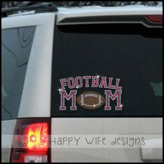 """Show your team spirit with some serious bling.  Be the first in your town to show your support for your kids team with this football mom custom rhinestone car decal.    This design measures approximately 4.5"""" x 8.25"""".  Comes with crystal rhinestone outline and your choice of rhinestone color for ..."""