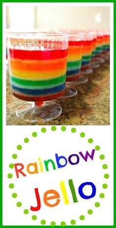 Rainbow Jello - Perfecto para el Día de San Patricio. A los niños les encantará! # Arco iris # gelatina