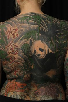 Japanese Panda Bear Colored Tattoo On Back