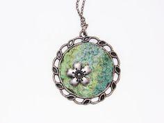 Elena's Felted Jewelry - Green Turquoise Round Pendant. via Etsy.