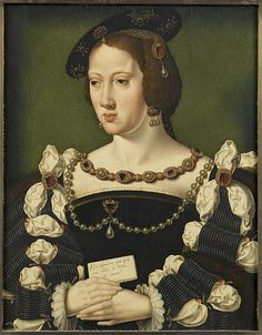Joos van Cleve - Eleonora of Austria, (1498-1558), Queen of France. date c. 1530-31, Chantilly ; musée Condé (according to the museum in France, this is by van Cleve, but others have it as 'after' or 'attributed to' van Cleve) there are other versions, one without a hat is in Vienna Mode Renaissance, Costume Renaissance, Italian Renaissance Art, Renaissance Portraits, Renaissance Paintings, Renaissance Fashion, Historical Costume, Historical Clothing, European History