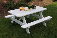 Kids Picnic Table Children's Outdoor Pine Table Amish Made USA - Stained - Linden Leaf - http://rustic-touch.com/kids-picnic-table-childrens-outdoor-pine-table-amish-made-usa-stained-linden-leaf/