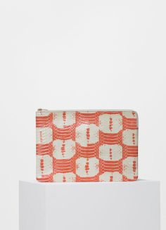 Clutch with Pocket in Orange and White Printed Watersnake - Céline