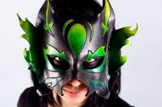 Green Fire Kitty  Handmade Leather Mask by MisfitLeather on Etsy, $92.00