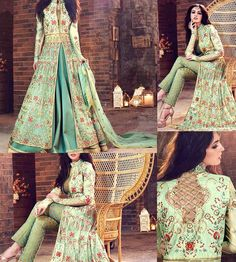 Simply Wow! Wear this Amazing Green Net Heavy Embroidery Anarkali Suit for Wedding to let everyone get spellbound with your beauty.