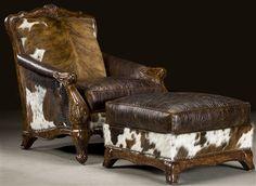 cowhide chair & ottoman
