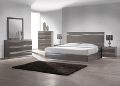 Contemporary grey lacquer five piece bedroom set with headboard. Create your creative and stylish bedroom with this gorgeous, stylish, modern, trendy and convenient set. This set includes bed, nightstands(2), dresser and mirror. Contemporary designed set pieces with great style, elegance, and sophis...