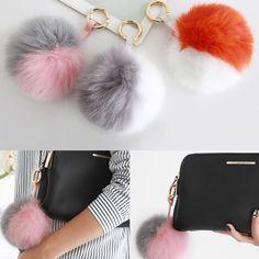 Two Tone Color Real Fox Fur Ball Pom Pom Handbag Charm Key Ring Chain Holder New #Jacc