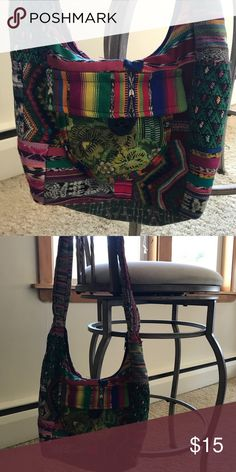 Costa Rica Handbag This shoulder bag was made and bought in Costa Rica. It has handwoven patterns and is very colorful. Only a little bit of the handwoven material is worn down. It has one exterior patterned pocket. Bags Shoulder Bags