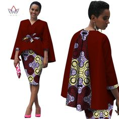 Africa Style Women African Clothing Two Piece Set Dress Suit for Women Tops Jacket and Print Skirt Bazin Riche Clothing African American Fashion, African Inspired Fashion, African Print Fashion, Africa Fashion, Ethnic Fashion, Fashion Prints, Fashion Design, African Print Dresses, African Fashion Dresses