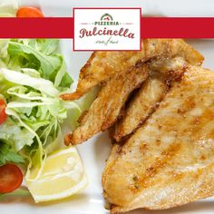 Cotoletta alla Milanese: Breaded and fried succulent chicken breast accompanied with a serving of French fries... pulcinelladubai.com   800 PIZZERIA. How you eat is how you live. Let's eat well together.