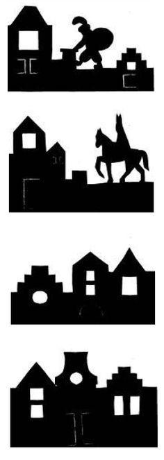 sint en piet op het dak silhouette - Google zoeken Kirigami, Silhouette Cameo, Saints For Kids, Shadow Theatre, Christmas Crafts, Xmas, Stencils, Saint Nicholas, Painting For Kids