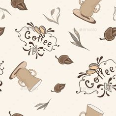 Beige and brown soft texture with coffee lettering, beans and cups for cafe menu, wallpaper, fabric design