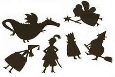 Printable Shadow Puppets | Munchkins and Mayhem make a picture frame stage thing on wall and have it customizable like felt on felt