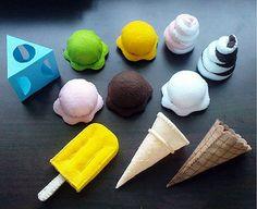 Felt Patterns - Felt Ice Creams Pretend Play Set - Popsicle, Ice Cream Cones, Soft Ice Cream (Patterns and Instructions via Email) Felt Diy, Felt Crafts, Felt Food Patterns, Pdf Patterns, Free Pattern, Ice Cream Set, Felt Play Food, Ice Cream Flavors, Fake Food
