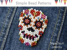 This Sugar Skull bead pattern will show you how to make a Day of the Dead Sugar Skull earrings, necklace and brooch pin using peyote stitch design Sugar Skull Jewelry, Sugar Skull Earrings, Bead Loom Patterns, Beaded Jewelry Patterns, Bead Jewelry, Bracelet Patterns, Crochet Patterns, Bead Earrings, Peyote Beading Patterns
