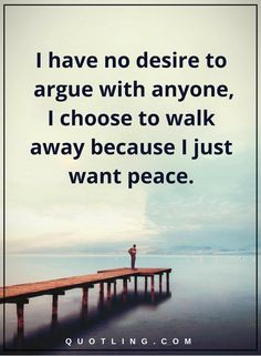 peace of mind  quotes I have no desire to argue with anyone, I choose to walk away because I just want peace.