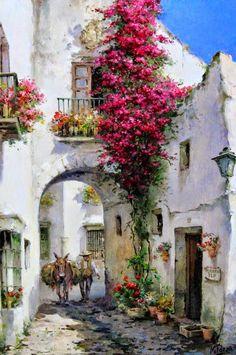 Manuel Fernández García (Spain) Was born in 1927 Landscape Painter of Peoples . - Manuel Fernández García (Spain) Born in 1927 Spanish Landscape Painter of Peoples and Customs - Landscape Art, Landscape Paintings, Art Paintings, Art Watercolor, Fine Art, Beautiful Paintings, Art Oil, Painting Inspiration, Painting & Drawing