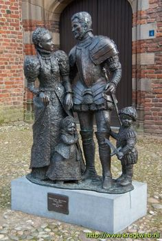 A statue in Buren, The Netherlands, of William I of Orange, Anna van Buren, and their first two children, Filips and Maria.  William (1533 – 1584) was the Count of Nassau. He inherited the title Prince of Orange in 1544, and was also Duke of Buren. He was one of the leaders of the Dutch War for Independence.