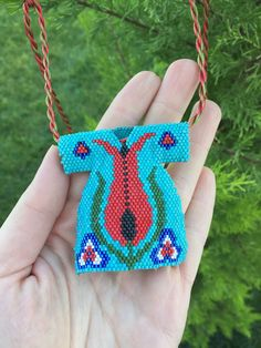 Beaded Kaftan Necklace Caftan Miyuki Necklace Brickstitch