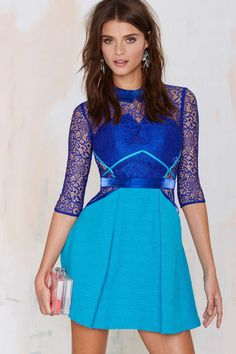 Three Floor Lace Vision Fit & Flare Lace Dress