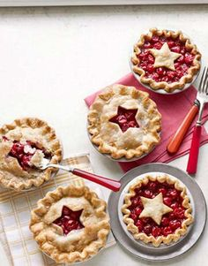 Star-Cutout Cherry Pie | Whip up these scene-stealing mini desserts using refrigerated pie crust and canned cherries.