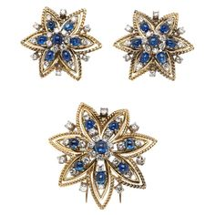 Cabochon Sapphire and Diamond Brooch with Matching Earrings; c. 1950s