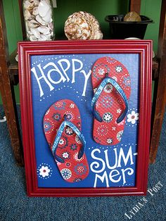 """This """"Flip Flop Flip"""" summer craft from Lydia's Post would be easy and affordable to recreate with supplies from Dollar Tree Summer Diy, Summer Crafts, Holiday Crafts, Summer Porch, Happy Summer, Crafts To Make, Fun Crafts, Wood Crafts, Flip Flop Art"""