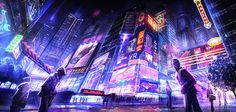 The City waking up - Cyberpunk, Futuristic, Cyber City, Neon, Future City
