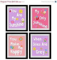 ON SALE You Are My Sunshine Nursery Art Print  by MadeForYouPrints, $40.90
