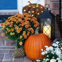 Pre-lit twig pumpkins and miracle flame candles twinkle and shine among other autumn accents. #FallinLoveBalsamHill #FallBlogHop
