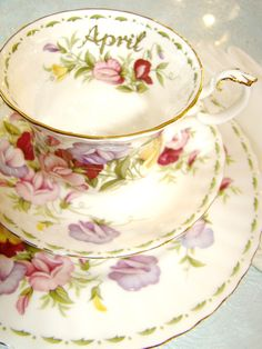 Royal Albert England Bone China APRIL Flower of the Month Tea Cup and Saucer Plate set of 3 Sweet Pea, via Etsy.