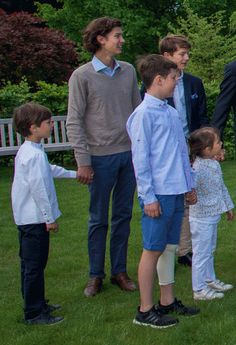 Princes Henrik, Christian, Nikolai, Félix et Princesse Athena, 5 juin 2017, Fête des 50 ans de mariage de la reine Margrethe et le prince Henrik de Danemark, Château de Fredensborg (Fredensborg, Danemark)
