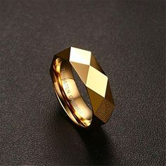 Tungsten Carbide Ring Gold Plated Prismatic Section Wedding Engagement Band Unusual Wedding Rings, Custom Wedding Rings, Wedding Ring Bands, Wedding Jewelry, Skull Engagement Ring, Engagement Bands, Wedding Engagement, Tungsten Carbide Rings, Mens Silver Rings