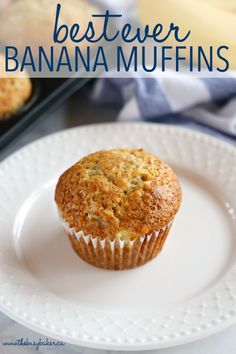 These Best Ever Banana Muffins are the best banana muffins you'll ever try - crispy on the outside and fluffy on the inside! And so easy to make in only one bowl! Ready in minutes! Muffins Blueberry, Cranberry Muffins, Moist Banana Muffins, Best Banana Muffins Ever, Banana Bread Cupcakes, Best Banana Muffin Recipe, Banana Breakfast Muffins, Donut Muffins, Mini Muffins
