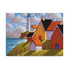 Lighthouse Coastal Town Folk Art Print by artist by artist Cathy Horvath Buchanan, Scenic Summer Ocean Village Landscape, Seaside Home Wall Decor Artwork Gift at SoloWorkStudio on Etsy Large Art Prints, Artwork Prints, Painting Prints, Art Populaire, Home Wall Decor, Oeuvre D'art, Art Reproductions, New Art, Lighthouse