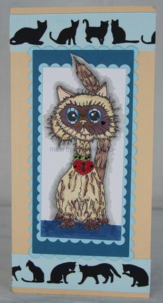 Sweet Pea image called Happy Himalayan, coloured with Promarkers and die cut with Spellbinders. Ribbon exclusive to Crafty Ribbons.