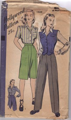 Great 40's trousers - with instrustions on how to make military regulation styles from the same pattern - from the collection of Stephanie Pitchers