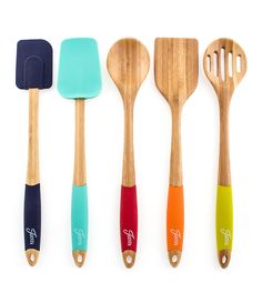 Fiesta Bamboo and Silicone Utensil Set 1 each: bamboo turner, bamboo spoon, bamboo slotted spoon, silicone spatula, and silicone turner Bamboo; silicone Hand wash recommended Coordinates with fiesta colors Colorful addition to any kitchen Serving Utensils, Cooking Utensils, Kitchen Utensils, Kitchen Gadgets, Kitchen Stuff, Kitchen Dining, Cooking Gadgets, Kitchen Ideas, Kitchen Supplies