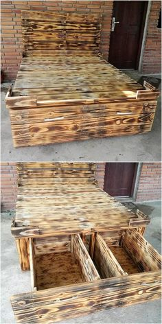 This wood pallet bed frame idea is all designed in the square shaped designing work where the storage drawers effect has made its appear much purposeful and effective in usage. It is being size up as moderate and overall designing of the drawers has been done with the dramatic use of the wood pallet in it.