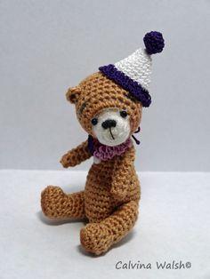 Brax Bear an Amigurumi Crochet Bear of Thread by Teddy Bear Artist Calvina Walsh #TeddyBearArtist #AllOccasion Pattern for Bear is designed by: Stefanie Devlin of TheTinyToyBox