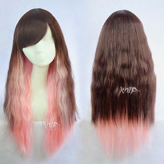 cosplay wig 30 inches brown mix pink japanese by girlshowhair Kawaii Hairstyles, Cute Hairstyles, Anime Hairstyles, Bad Hair, Hair Day, Dying Your Hair, Anime Wigs, Cosplay Wigs, Cosplay Hair