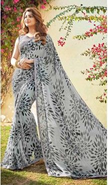 Slate Grey Color Georgette Fancy Printed Casual Wear Saris | FH543381565 Follow us @heenastyle << #saree #sari #backless #blouse #indian #women #girl #lady #sareeseduction #sareeblouse #desi #dress #outfit #clothes #backlessblouse #sareelove #sarees #red #sareerental #indianfashion #klrental #rentfromus #indianwear #clothing #rent #fanceysaris #heenastyle