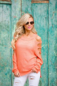 Cold Shoulder Sweater - Coral