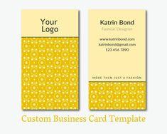 Business Card Template, Calling Cards, Custom Business Cards, Vertical Business Card, Business Card Design, Yellow Business Card Template #teampinterest