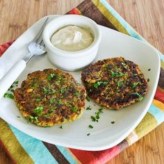 Chickpea and Brown Rice Patties with Parsley, Mint, and Yogurt-Tahini Sauce; it took us a few tries to get this right but the final result was so tasty!  [from Kalyn's Kitchen] #MeatlessMonday #GlutenFree #SouthBeachDiet