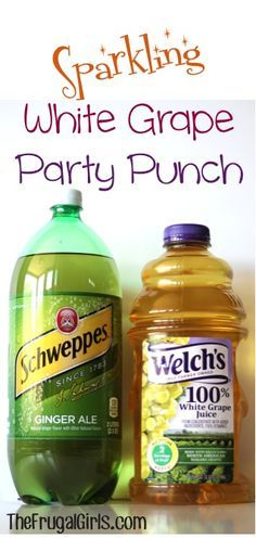 I make this for work parties since its non-alcoholic. I use a 2L of generic ginger ale (you're adding flavor to it so save your money), and either the white grape juice seen here or the champagne looking bottle of sparkling grape juice. Throw some whole raspberries on top and you're done. Total cost is less than $5ish bucks for a nice looking drink. // Sparkling Punch Recipe