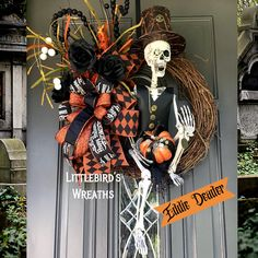 Wreaths, Swags and Decor for all occasions by Littlebirdswreaths Halloween Mesh Wreaths, Fall Wreaths, Door Wreaths, Fall Halloween, Halloween Crafts, Happy Halloween, Halloween Party, Skeleton Decorations, Halloween Decorations