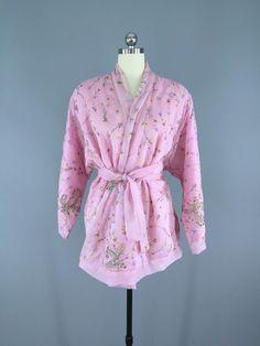 Silk Chiffon Sari Kimono Cardigan / Pastel Pink Floral Embroidered Kimono Jacket / Wedding / Dressing Gown / Made from vintage Indian Chiffon Sari #vintagesari #indiansari #sari #kimonocardigan #kimonojacket #kimono #boho #bohemian #wedding #dressinggown #pinkchiffon #pinkkimono #pink #chiffonkimono #chiffon